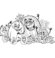 funny fruits cartoon for coloring book vector image vector image