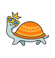 funny turtle in sunglasses and crown vector image vector image