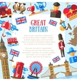 Great Britain travel card template with famous vector image vector image
