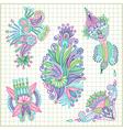 hand draw doodle flower element set vector image vector image