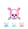 hand drawn skull with arrows isolated on white vector image vector image