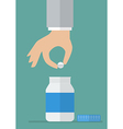Hand picking pill from medicine bottle vector image vector image