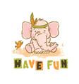 have fun cartoon elephant animal vector image
