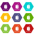 juice box straw icons set 9 vector image vector image