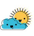 kawaii cloud and sun in watercolor silhouette vector image vector image