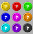 loader Icon sign symbol on nine round colourful vector image vector image