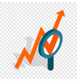 magnifier and growth chart isometric icon vector image vector image
