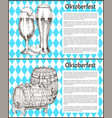 oktoberfest posters set keg of beer and ale glass vector image