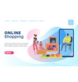 online shopping landing customer using smartphone vector image vector image
