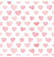 pink and red watercolor heart seamless pattern vector image