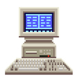 Pixel old computer isolated vector image vector image