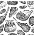 raw meat seamless pattern drawing hand vector image vector image