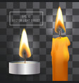 realistic flame candle set on transparent vector image vector image