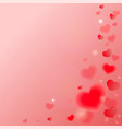 red-pink blur background with hearts card vector image