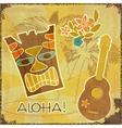 Retro Hawaiian postcard vector image vector image