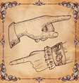 retro Vintage pointing hand drawing vector image