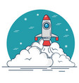 rocket and clouds design vector image vector image