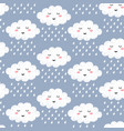 seamless pattern with cute happy cartoon kawaii vector image