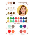 seasonal color analysis palette for clear spring vector image vector image