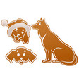set dog gingerbread cookie christmas ginger snap vector image