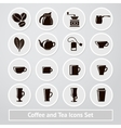 set of coffee and tea icons for shops vector image
