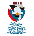 set of cruise liner gull and captains cap design vector image vector image