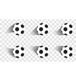 set soccer balls football shot goal sport vector image
