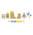 Sightseeing Summer Symbols Set By Five In Line vector image vector image