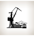 Silhouette cargo container ship with cargo crane vector image