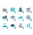 stylized business factory and mill icons vector image vector image