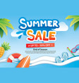 summer sale with paper cut symbol and icon for vector image