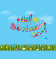sunny blue cloudy sky background with lettering vector image vector image