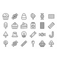 sweets and candy icon set 22 line icon set vector image vector image