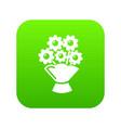 wedding flower bucket icon green vector image