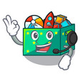 with headphone children toy boxes isolated on vector image