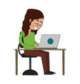 woman in desk with laptop vector image vector image