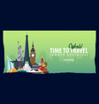 world travel banner time to travel journey trip vector image