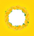 wreath dandelions isolated summer card yellow vector image