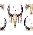 Buffalo Skull and Feather pattern vector image