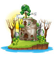 a fantasy house on island vector image