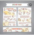 bakery poster template with pastries sweet pastry vector image vector image