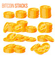 bitcoin stacks set crypto currency vector image vector image