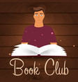 book club reading club open book with mystic vector image