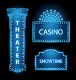 brightly blue theater glowing retro cinema neon vector image vector image