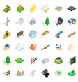 burning tree icons set isometric style vector image