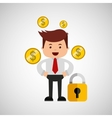 business man secure money currency vector image vector image