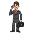 Businessman talking on phone 2 vector image