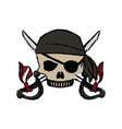 cartoon pirate skull hat patch eye with cross vector image