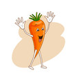 cheerful emotional vegetable in cartoon style with vector image vector image