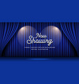 cinema theater curtains blue banner background vector image vector image